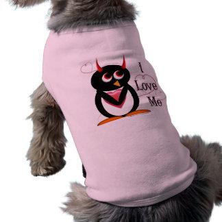 Evil Penguin I Love ME Dog T-shirt