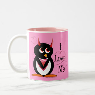 Evil Penguin I LOVE ME Mug