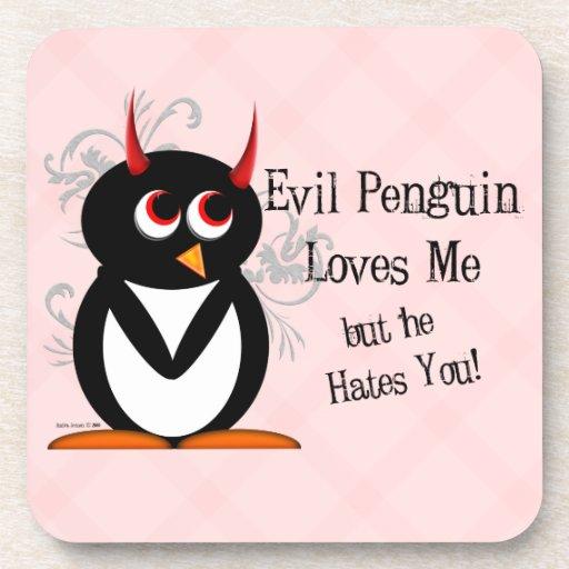 Evil Penguin™ Loves Me Beverage Coasters