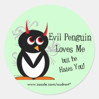 Evil Penguin Loves Me Stickers