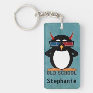 Evil Penguin Old School Personalized Single-Sided Rectangular Acrylic Keychain