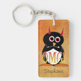 Evil Penguin OMG Personalized Single-Sided Rectangular Acrylic Keychain