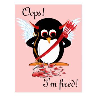 Evil Penguin OOPS Valentine Postcard
