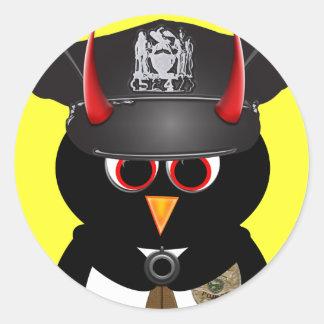 Evil Penguin Police Classic Round Sticker