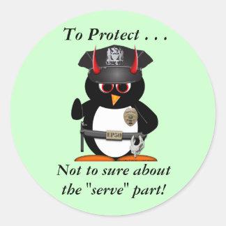 Evil Penguin Police Protect Classic Round Sticker