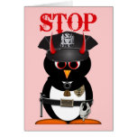 Evil Penguin Police Stolen My Heart Greeting Card