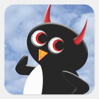 Evil Penguin Poser Square Sticker