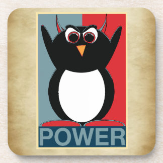 Evil Penguin™ Power to the Penguin Beverage Coaster