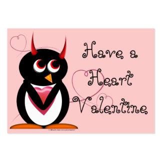 Evil Penguin School Valentines Large Business Card