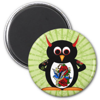Evil Penguin Tattoo 2 Inch Round Magnet