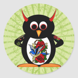 Evil Penguin Tattoo Classic Round Sticker