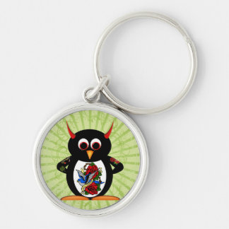 Evil Penguin Tattoo Silver-Colored Round Keychain