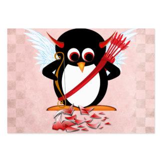 Evil Penguin Valentine cards Large Business Cards (Pack Of 100)