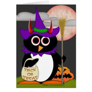Evil Penguin Witch Card