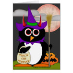 Evil Penguin Witch Greeting Cards