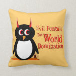 Evil Penguin World Domination Throw Pillow