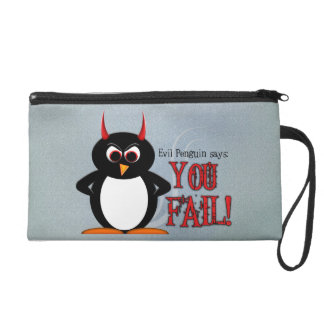 Evil Penguin You Fail Wristlet Funny