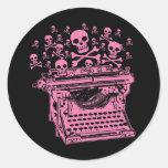 Evil Pink Typewriter Sticker