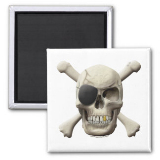 Evil Pirate Skull & Crossbones 2 Inch Square Magnet