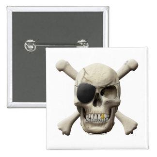 Evil Pirate Skull & Crossbones Button
