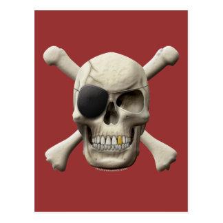 Evil Pirate Skull & Crossbones Postcard