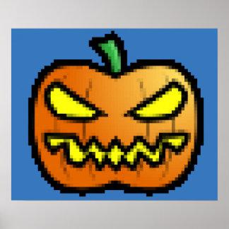 Evil Pixel Pumpkin Poster