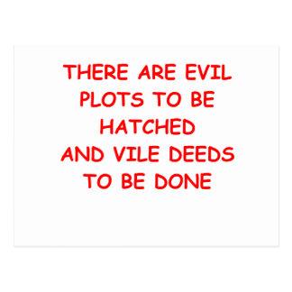 evil plot postcard