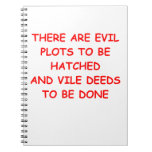 evil plot spiral notebooks