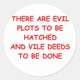 evil plot round stickers