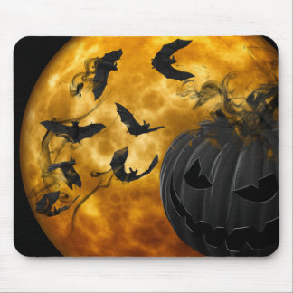Evil pumpkin face and bats at full moon halloween mouse pad