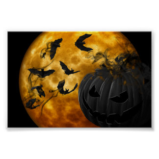 Evil pumpkin face and bats at full moon halloween poster