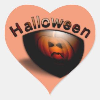 Evil Pumpkin Face Heart Sticker