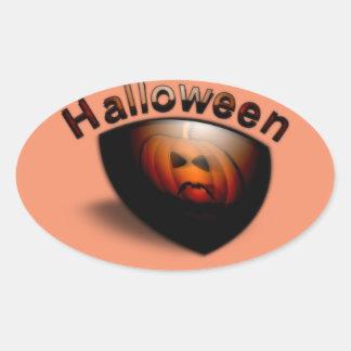 Evil Pumpkin Face Oval Sticker