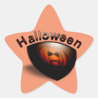 Evil Pumpkin Face Star Sticker