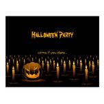 Evil Pumpkin Halloween Candles Invitation Postcards