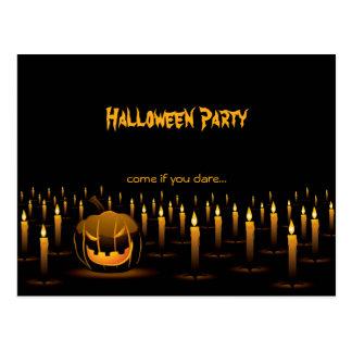 Evil Pumpkin Halloween Candles Invitation Postcard