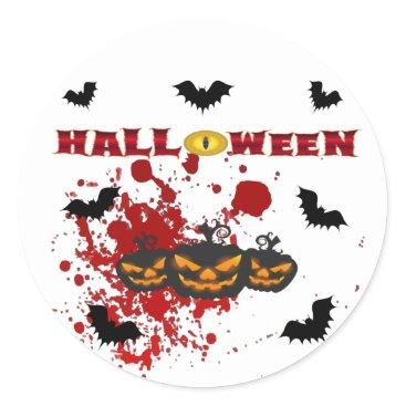 Halloween Themed Evil pumpkin Halloween Classic Round Sticker