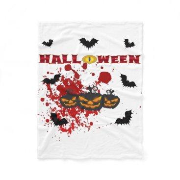 Halloween Themed Evil pumpkin Halloween Fleece Blanket