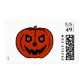 EVIL PUMPKIN (Halloween Jack-O-Lantern) ~ Postage Stamp