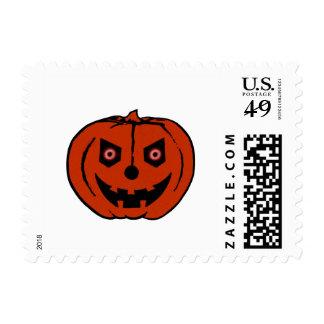 EVIL PUMPKIN (Halloween Jack-O-Lantern) ~ Postage Stamps
