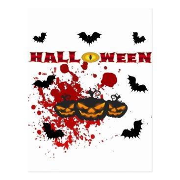 Halloween Themed Evil pumpkin Halloween Postcard