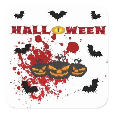 Halloween Themed Evil pumpkin Halloween Square Sticker