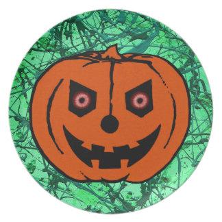 EVIL PUMPKIN on EMERALD GREEN Party Plate