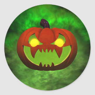 Evil Pumpkin Classic Round Sticker