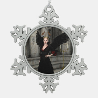 Evil Queen Snowflake Pewter Christmas Ornament