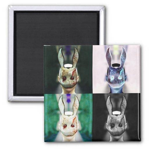 Evil Rabbit 2 Inch Square Magnet