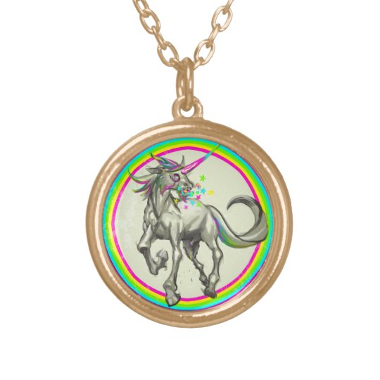 evil rabid unicorn with rabies gold plated necklace