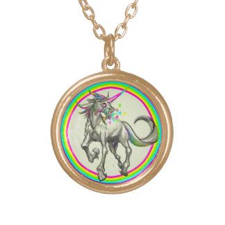 evil rabid unicorn with rabies round pendant necklace