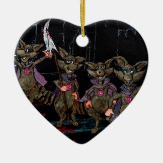 Evil Raccoons Ceramic Ornament