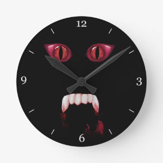 Evil Red Demon Eyes & Bloody Vampire Fangs Round Clock
